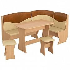 Набор кухонный Мебель Трия Уголок кухонный Уют-2 Люкс бук/коричневый