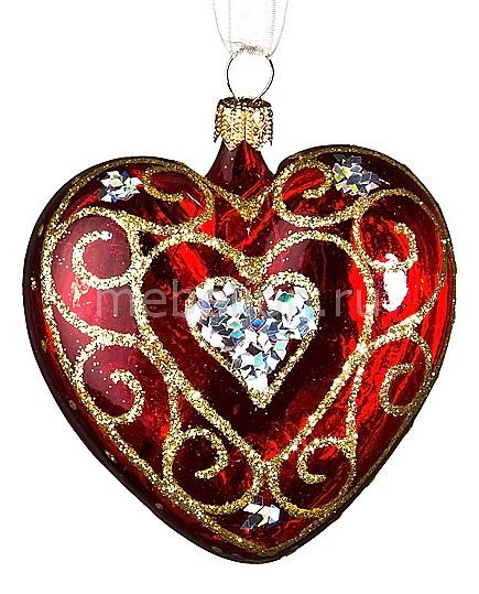 Елочная игрушка (8.5 см) Сердечко ажурное 860-119