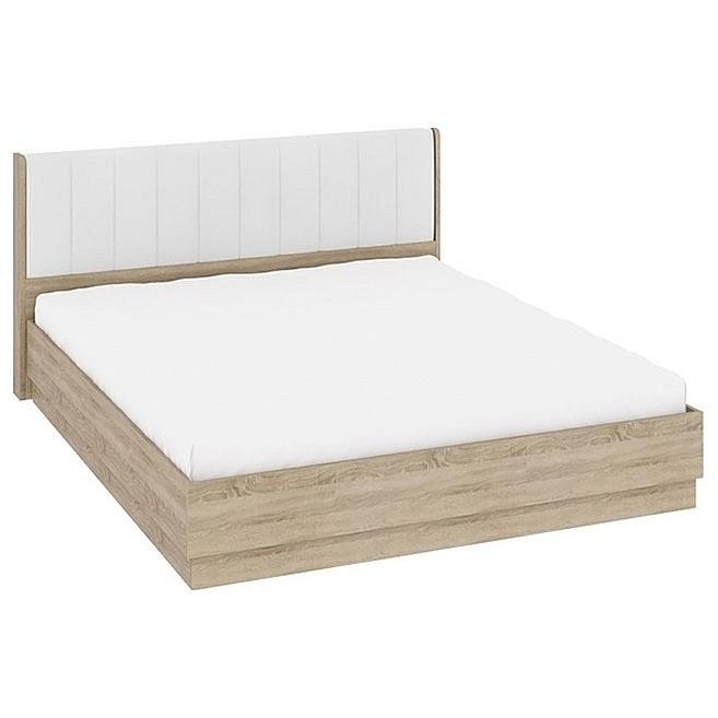 Кровать двуспальная Ларго СМ-181.01.004 дуб сонома/белая кожа mebelion.ru 19990.000