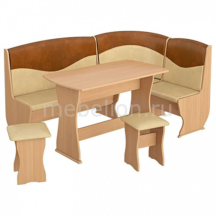 Набор кухонный Мебель Трия Уголок кухонный Уют-2 Люкс бук/коричневый мягкая мебель джокер люкс