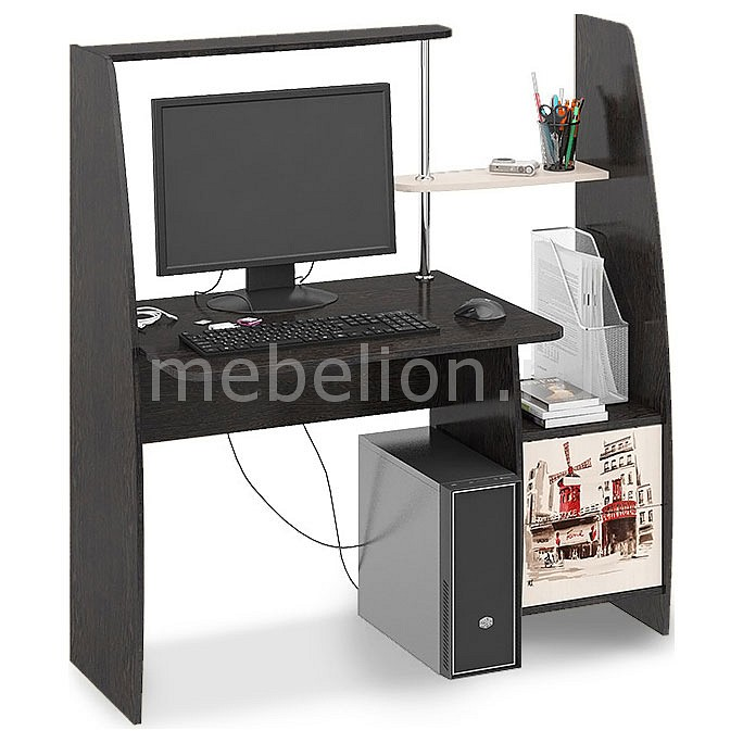 Стол компьютерный Мебель Трия Школьник-Стиль (М) венге цаво/дуб молочный с рисунком  стол компьютерный трия школьник стиль м с рисунком венге цаво дуб молочный