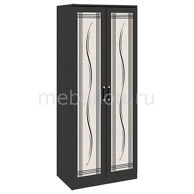 Шкаф платяной Токио СМ-131.08.003 венге цаво/венге цаво/дуб белфорт с рисунком Линии