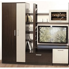 Стенка для гостиной Олимп-мебель А-7 венге/дуб линдберг