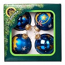 Набор из 4 елочных шаров (6 см) Небесный 860-179