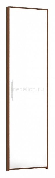 Дверь раздвижная 126.004 Танго 04 с зеркалом белый/орех