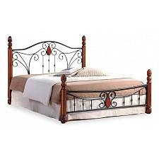 Кровать полутораспальная 9003 красное дерево/черный