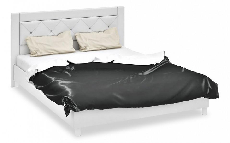 Кровать двуспальная Амели СМ-193.01.006 белый глянец/белый со стразами