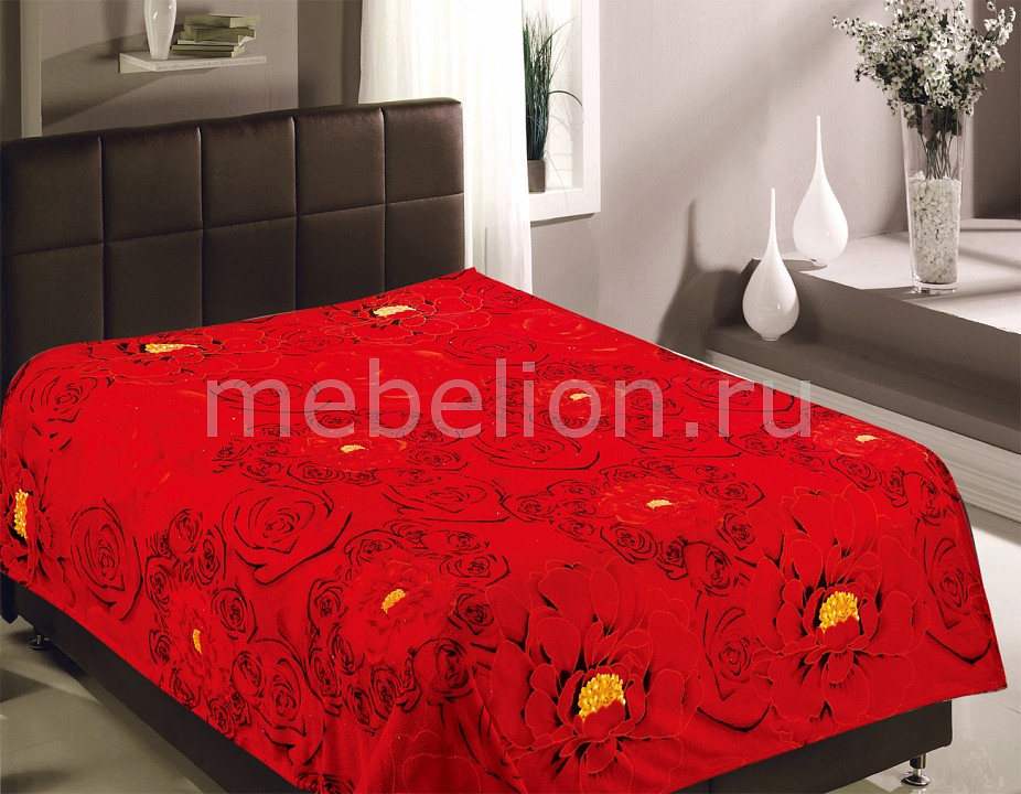 Плед TexRepublic (180х220 см) Розы красные цена