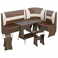 Набор кухонный Мебель Трия Уголок кухонный Уют-3 Люкс венге/«Санчо»/коричневый