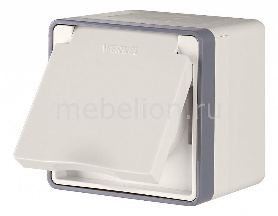 Купить Розетка влагозащищенна с заземлением с крышкой со шторками a036783, Werkel, Швеция, светлый бук, полимер
