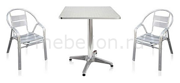 Гарнитур для сада LFT-3076-T3125-D60 серебристый металлик mebelion.ru 6715.000