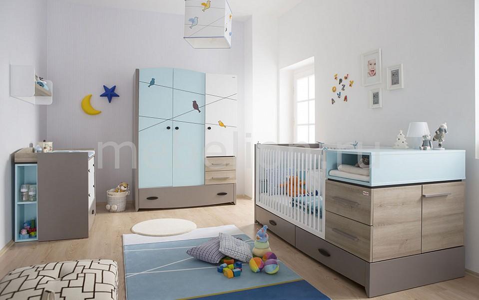 Гарнитур для детской Blue Birdy серый/голубой