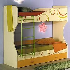 Кровать двухъярусная Фруттис 503.030 желтый/лайм/манго