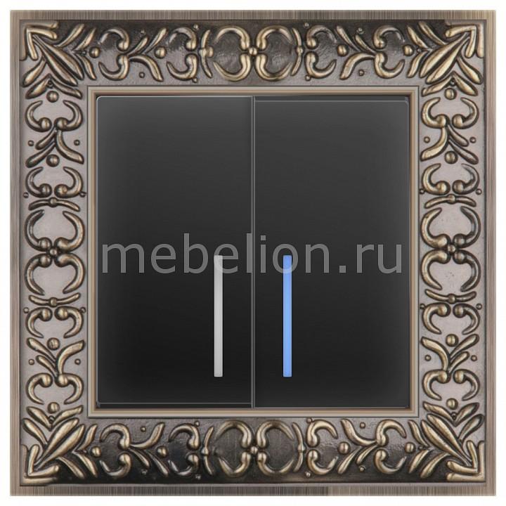 Выключатель двухклавишный с подсветкой Werkel Antik (Черный матовый) WL08-SW-2G-2W+WL08-SW-2G-LED выключатель проходной двухклавишный с подсветкой werkel antik черный матовый wl08 sw 1g wl08 sw 2g 2w led
