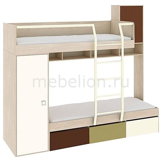 Кровать двухъярусная Тетрис ПМ-154.01 ясень белладжио/молочный/оливковый/шоколадный mebelion.ru 29990.000