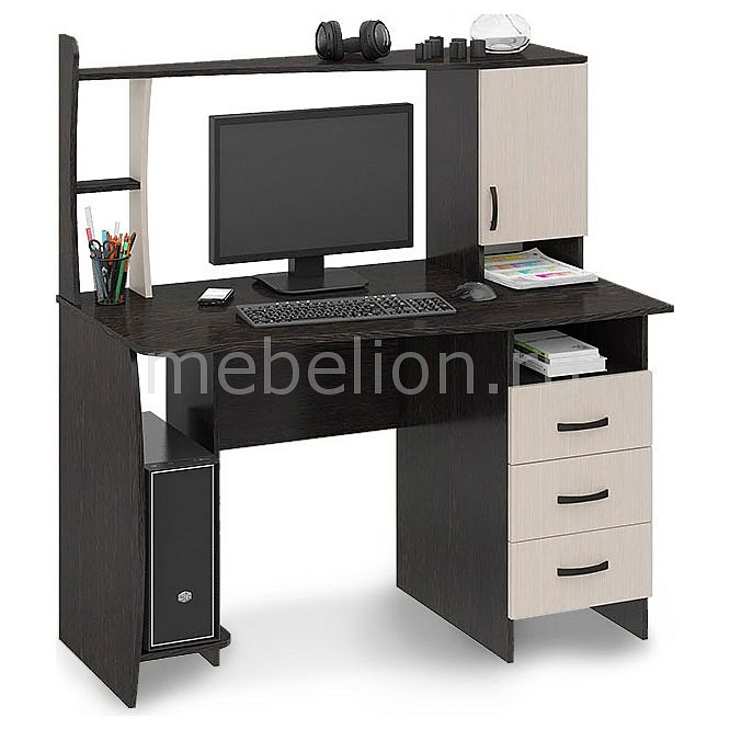 Стол компьютерный Мебель Трия Студент-Класс (М) венге цаво/дуб молочный тумбочка мебель трия прикроватная токио пм 131 03 см дуб белфорт венге цаво