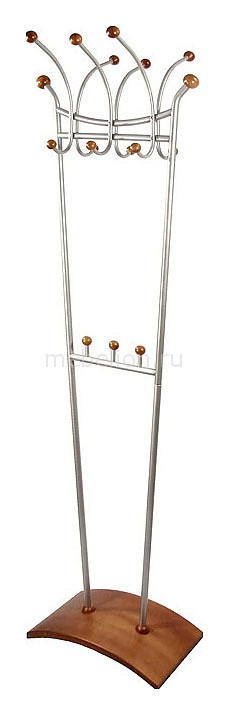 Вешалка напольная Мебелик Вешалка гардеробная Декарт Д-6 металлик/средне-коричневый вешалка напольная мебелик вешалка гардеробная галилео 216