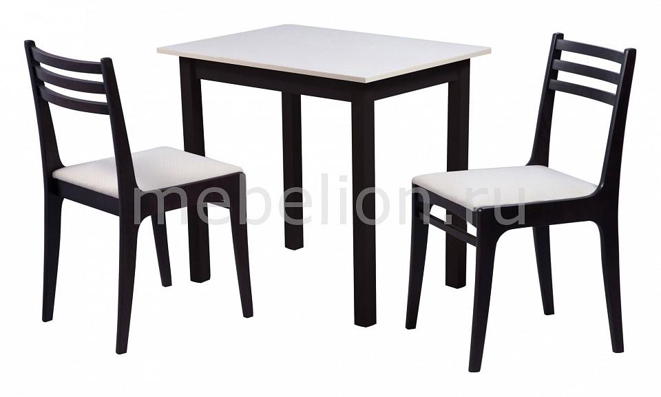 Набор обеденный Мебвилл Грис 2 раздвижной большой стеклянный обеденный стол кубика нагано 2 стекло стекло темно коричневое венге