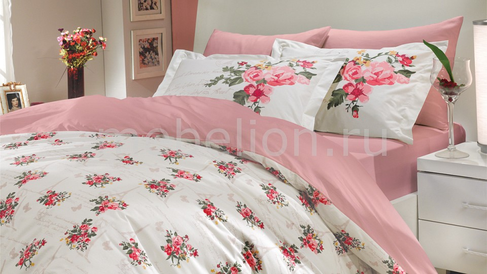 Купить Комплект полутораспальный PARIS SPRING, HOBBY Home Collection, Турция, белый, розовый, хлопок 100%