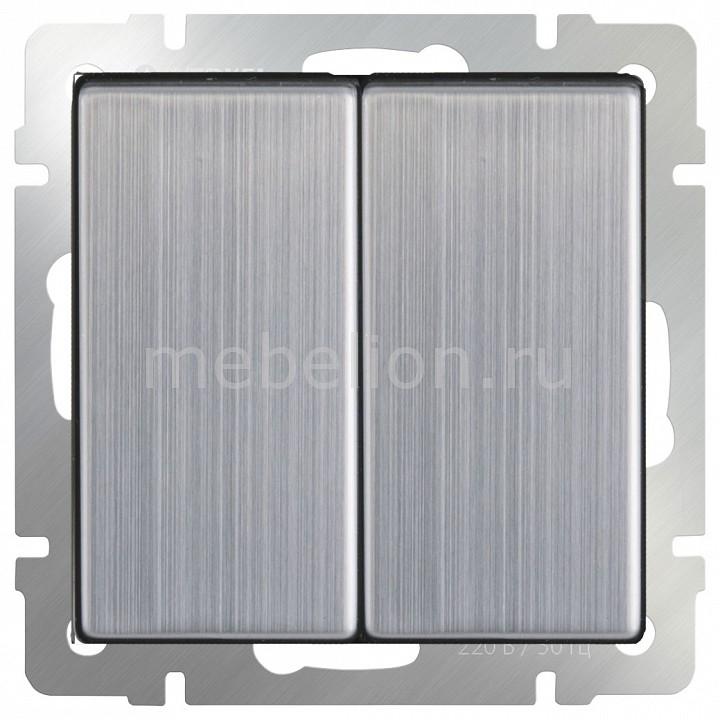 Выключатель двухклавишный без рамки Werkel Глянцевый никель WL02-SW-2G  цена и фото