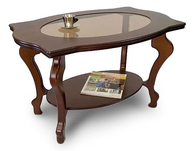 Стол журнальный Мебелик Берже 1С со стеклом/темнокоричневый