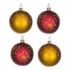 Набор из 4 елочных шаров (7.5 см) Брызги 860-500