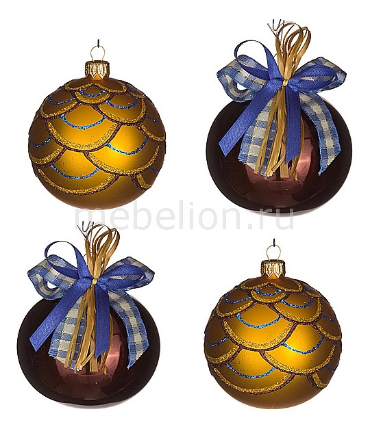 Набор из 4 елочных шаров (7.5 см) Кураж 860-513