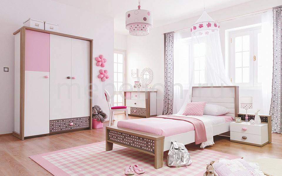 Гарнитур для детской Pink Point белый/коричневый/розовый