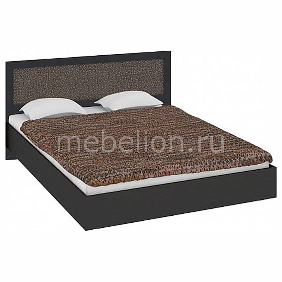 Мебель Трия Кровать двуспальная Сакура СМ-183.01.002 венге цаво/венге цаво/кожа Лара темная