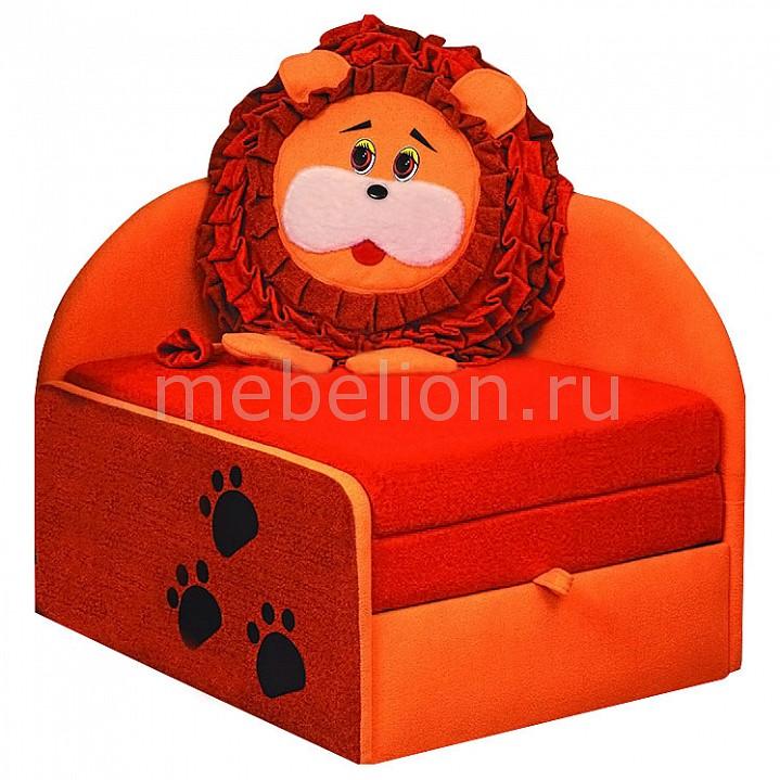 Диван-кровать Мася-11 Лев 8071127 оранжевый/красный  салон пуфик