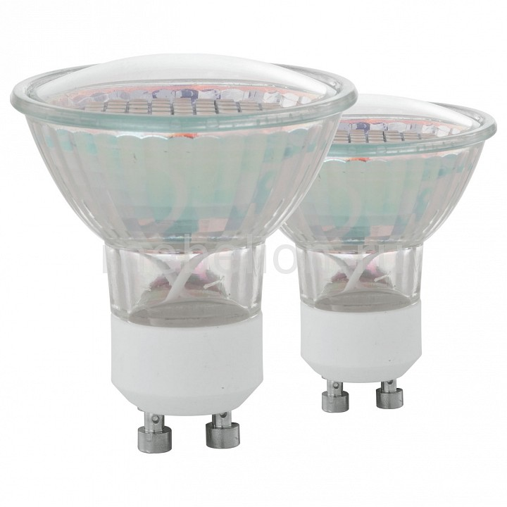 Комплект из 2 ламп светодиодных [поставляется по 10 штук] Eglo Комплект из 2 ламп светодиодных SMD GU10 50Вт 3000K 11427 [поставляется по 10 штук] комплект из 2 ламп светодиодных eglo led лампы g4 2700k 220 240в 1 2вт 11551