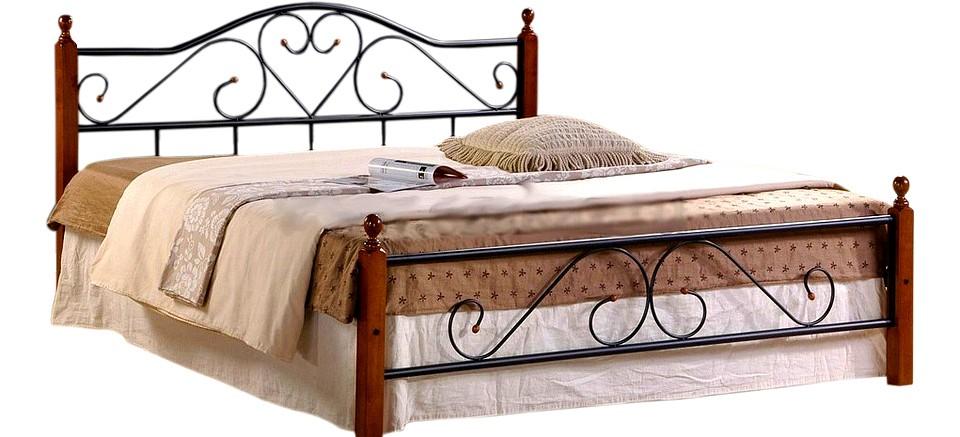 Кровать полутораспальная 815 красное дерево, черный mebelion.ru 6936.000