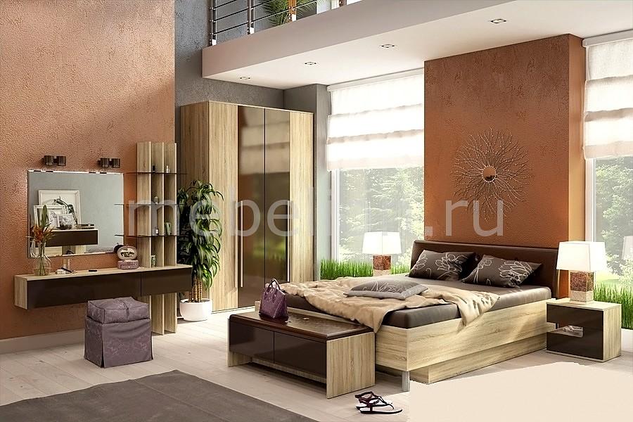 Гарнитур для спальни Ирма 4 дуб сонома/шоколад глянец mebelion.ru 0.000