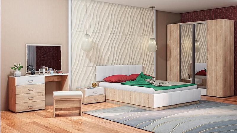 Гарнитур для спальни MOBI Линда 1 кровать mobi линда 303 90 кровать с пм дуб сонома белый