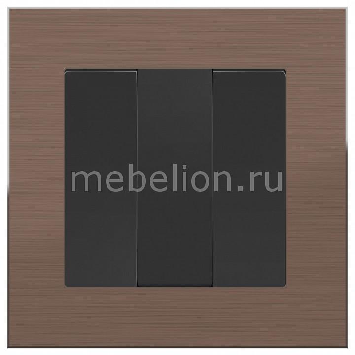 Выключатель трехклавишный Werkel без рамки Aluminium (Черный матовый) WL08-SW-2G+WL08-SW-3G тв розетки проходные werkel без рамки aluminium черный матовый wl08 sw 3g wl08 tv 2w