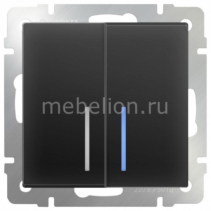 Выключатель двухклавишный с подсветкой без рамки Черный матовый WL08-SW-2G-LED