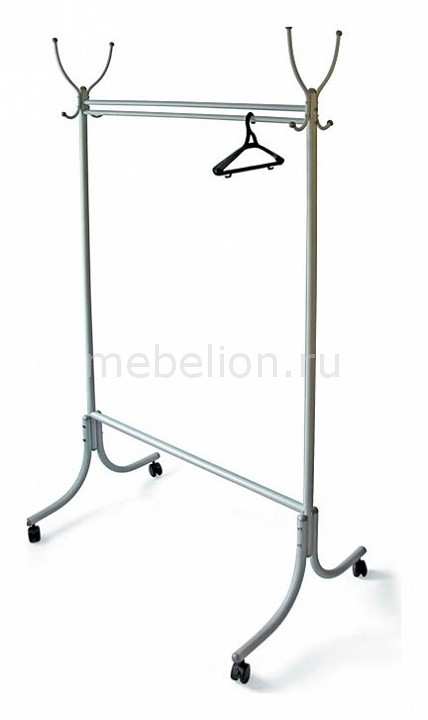Вешалка напольная Мебелик Вешалка гардеробная М-13 алюминий (с колесиками) вешалка напольная мебелик вешалка гардеробная м 13 алюминий с колесиками
