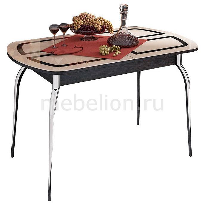 Стол обеденный Мебель Трия Милан хром/венге цаво/бежевый с рисунком мебельтрия стол обеденный ницца см 217 01 1 бежевый с рисунком кожа венге коричневый