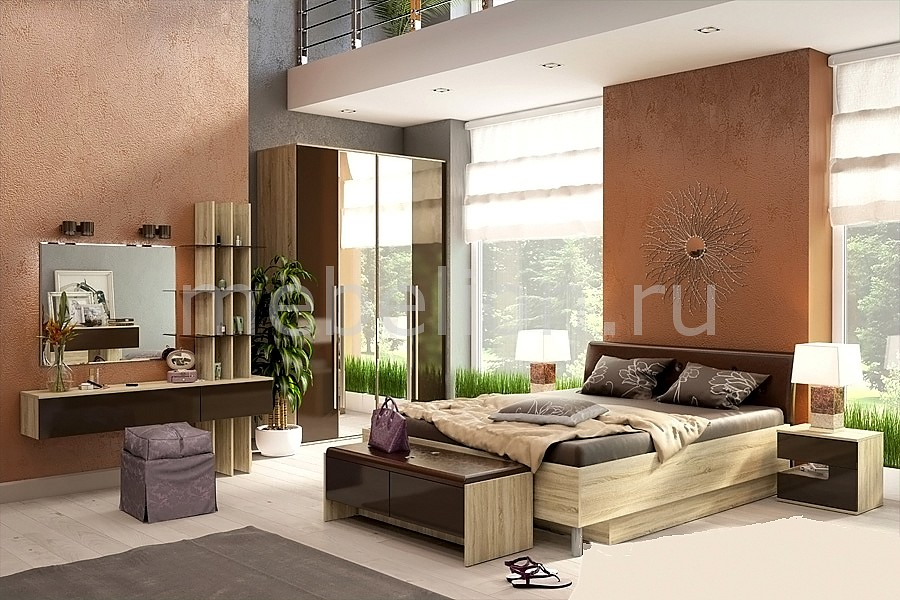 Гарнитур для спальни Ирма 3 дуб сонома/шоколад глянец mebelion.ru 6260.000
