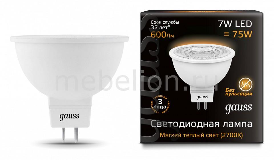 Лампа светодиодная Gauss NONE GU5.3 7Вт 220В 2700 K 101505107 лампа светодиодная gauss none gu5 3 7вт 220в 2700 k 101505107