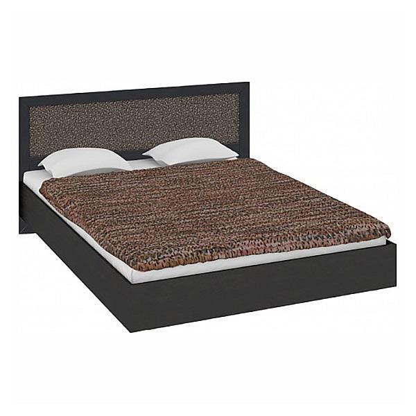 Кровать двуспальная Сакура СМ-183.01.002 венге цаво/венге цаво/кожа Лара темная