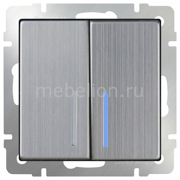 Выключатель двухклавишный с подсветкой без рамки Werkel Глянцевый никель WL02-SW-2G-LED  цена и фото