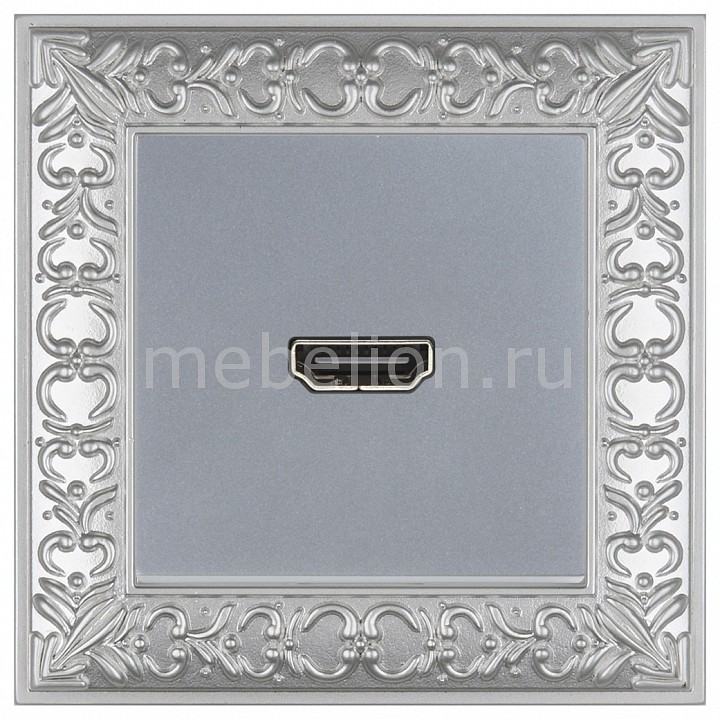 Розетка HDMI Werkel Antik (Серебряный) WL06-04-01+WL06-60-11