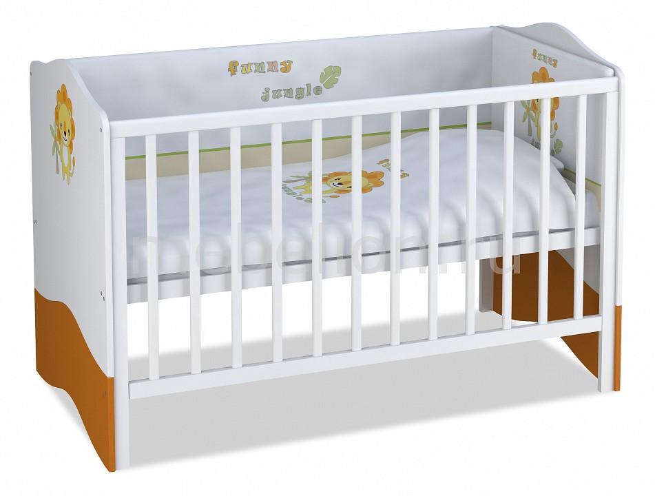 Кроватка Polini Polini Basic Джунгли кроватка детская polini kids basic джунгли с комодом белый оранжевый