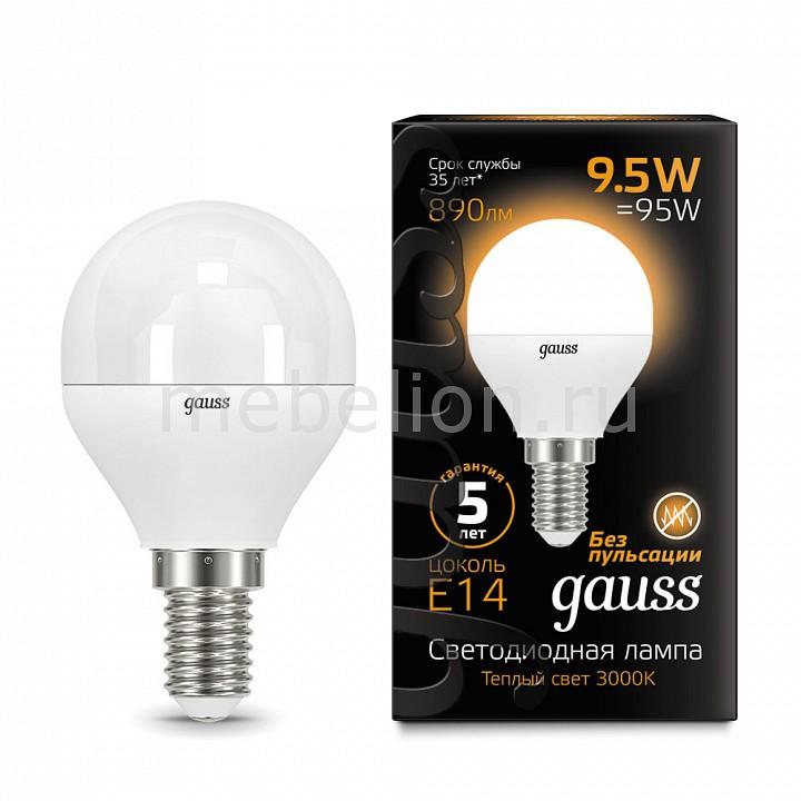 Лампа светодиодная Gauss 1051 E14 150-265В 9.5Вт 3000K 105101110 gauss black led globe e14 9 5w 3000k 105101110