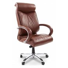 Кресло для руководителя Chairman 420 коричневый/хром, черный