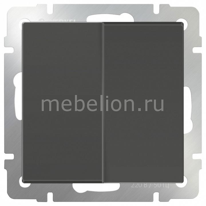 Выключатель двухклавишный без рамки Werkel Серо-коричневый WL07-SW-2G  цена и фото