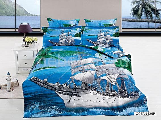 Комплект полутораспальный Arya Сатин Печатное 3D Ocean Ship P0000171