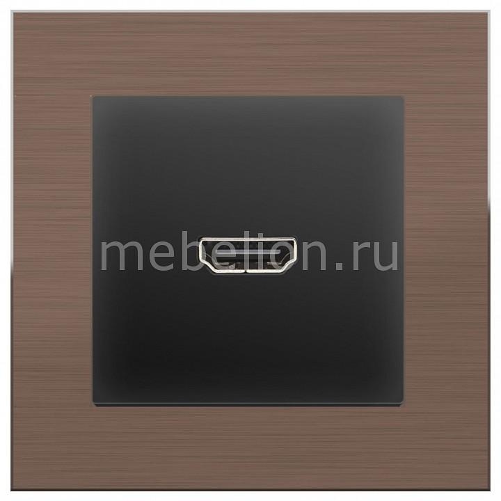 Розетка HDMI Werkel Aluminium (Черный матовый) WL08-04-01+WL08-60-11 акустическая розетка х4 черный матовый wl08 audiox4 4690389063725