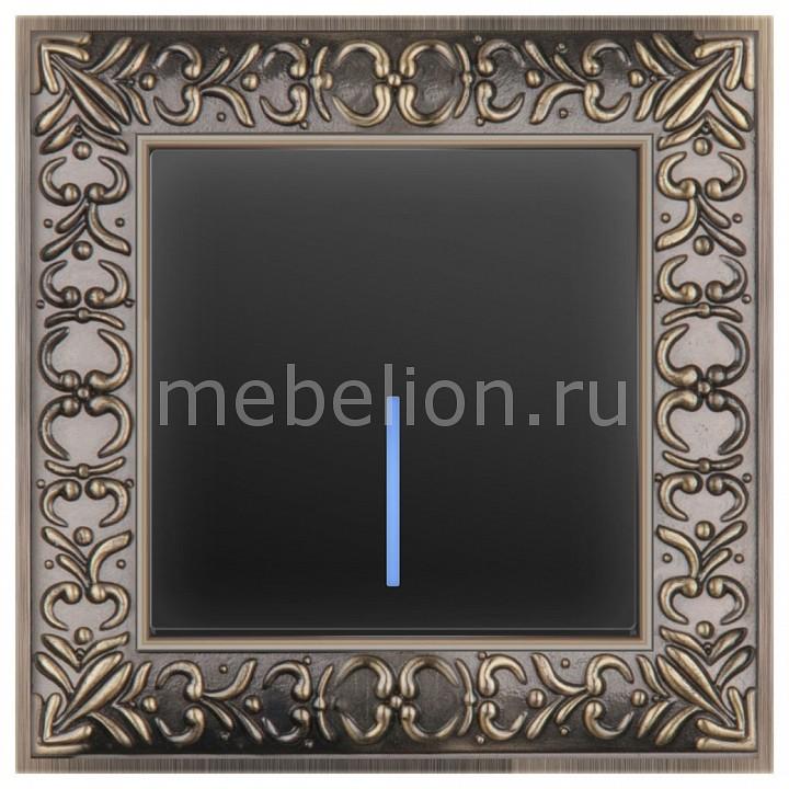 Выключатель одноклавишный с подсветкой Werkel Antik (Черный матовый) WL08-SW-1G-C +WL08-SW-1G-LED  werkel выключатель одноклавишный черный матовый wl08 sw 1g 4690389054136